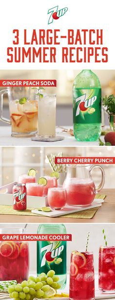 Make easy large-batch punches with perfect for all occasions from holidays to birthdays. Dessert Drinks, Party Drinks, Cocktail Drinks, Fun Drinks, Non Alcoholic Drinks With 7up, Beverages, Cocktails, Drinks Alcohol, Healthy Drinks