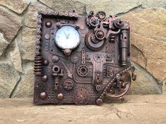 Bronze Anniversary Gifts, Bronze Gifts, Steampunk Clock, Scrap Metal Art, Outdoor Sconces, Tin Gifts, Hallway Decorating, Wall Hooks, 1 Piece