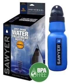 Sawyer Outdoor Filter Water Bottle.Get clean, filtered water where ever your travels take you! http://www.filtersfast.com/P-Sawyer-SP149-Outdoor-Filter-Emergency-Water-Bottle.asp