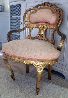 ♥•✿•♥•✿ڿڰۣ•♥•✿•♥  Antique Petite Gilded Boudoir Chair  ♥•✿•♥•✿ڿڰۣ•♥•✿•♥