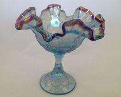 Fenton Art Glass Spanish Lace Misty Blue Comport w/ Plum Crest