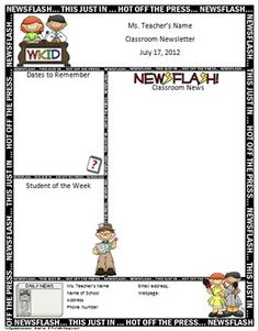 Super cute FREE two page template for a classroom newsletter...MS ...