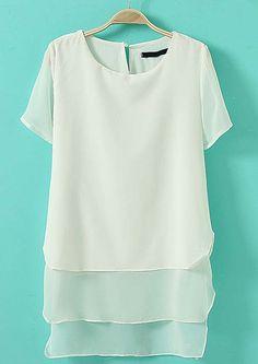 White Short Sleeve Back Zipper Asymmetrical Chiffon Blouse