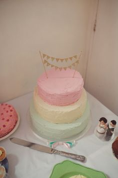 DIY Village Fete Wedding Pastel Ombre Rustic Cake Bunting Topper http://www.rebeccadouglas.co.uk/blog/
