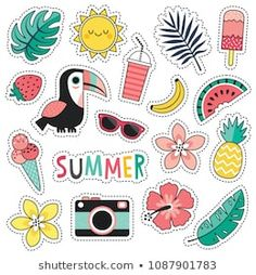 Cartoon style vector summer patches with cute toucan, tropical leaves and flowers, summer fruits and ice creams. Planner Stickers, Journal Stickers, Printable Stickers, Stickers Cool, Tumblr Stickers, Laptop Stickers, Homemade Stickers, Aesthetic Stickers, Cartoon Styles