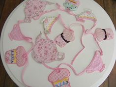 Shabby vintage fabric tea party bunting, cupcakes and teapots