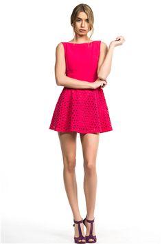 İroni Lazer Kesimli Fuşya Renk Mini Elbise