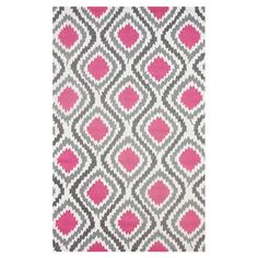 Bring eye-catching appeal to your den or define areas in the living room with this hand-hooked rug, showcasing an ikat trellis motif in pink.