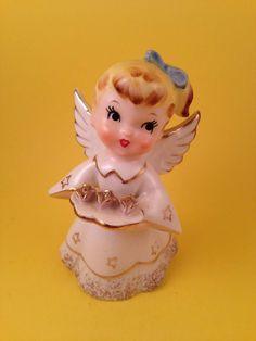 SUPER CUTE Happy Birthday Japan Angel Figurine Norcrest F262 Star Flower Bow