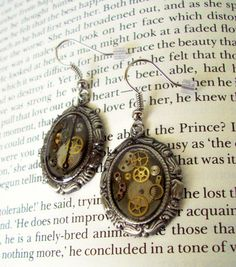 Steampunk Earrings E49  Gears and Watch Parts by DesignsByFriston, $15.00