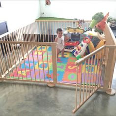 Buy Large Wooden Playpen / Play Yard in Singapore,Singapore. The pen consists of 8 panels (60x90cm each), made of unpainted wood so no harmful paint will go into baby's mouth. You can play around with various shapes - sm Chat to Buy