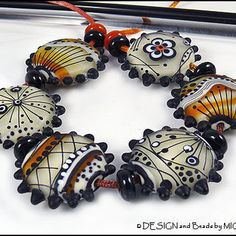 """Michou Anderson Lampwork Beads - Black, white and caramel glass beads set  """"Milk and Honey"""""""