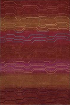 An abstract wave pattern makes an arresting style statement when presented in an electrifying color palette of orange, navy, fuchsia, cobalt and crimson. This charismatic contemporary rug boasts deluxe hand-carved details for an unsurpassed sensuality.