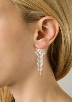 Joëlle Jewellery Earrings :: Joëlle Jewellery Dessous d'oreille Couronne large model earring in white gold plated-silver and 0,37 carats white diamonds | Montaigne Market