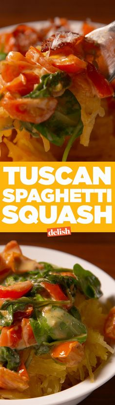 This Tuscan Spaghetti Squash is so good, you won't even miss pasta. Get the recipe on Delish.com.