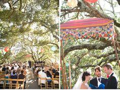 Backyard wedding chuppah.