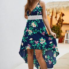 Material: Polyester Style: bohemian style Silhouette: asymmetry Pattern Type: Print Sleeve length (cm): sleeveless Dress length: Mid-Calf Waist: Empire Neckline: V-neck Sexy Dresses, Dresses For Sale, Casual Dresses, Fashion Dresses, Off The Shoulder Dress Formal, High Low Hem Dresses, Boho Midi Dress, Spaghetti Strap Dresses, Spaghetti Straps