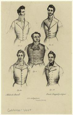 Men in vests and neckties. (1834). NYPL Digital Gallery.