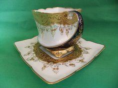 Superb Antique Limoges Jean Pouyat Fine Bone China Cup  Saucer, Raised Gilding