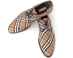 Paul Parkman Beige & Brown Plaid Canvas Derby Shoes (ID#6078-BRW)