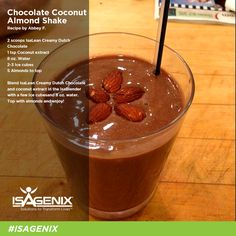 Try this decadent Chocolate Coconut Almond shake from Abbey F. for a little variety this week!