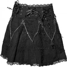 Ornate gothic skirt by Queen of Darkness, with chains, eyelets and satin ribbon details, mesh hem.