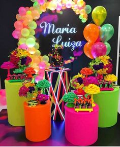 Image may contain: flower and text Neon Birthday, 13th Birthday Parties, Birthday Party For Teens, Sweet 16 Birthday, Birthday Ideas, Glow In Dark Party, Glow Stick Party, 80s Party Decorations, Deco Buffet