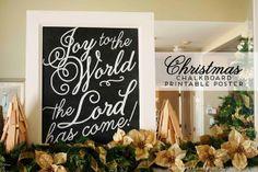 Joy to the World Christmas-y Chalkboard Free Printable @ mintedstrawberry.blogspot.com #christmas #chalkboard #poster