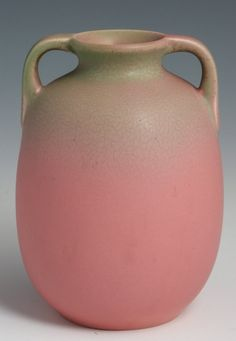 ROOKWOOD POTTERY VASE #2077 1928 PINK  GREY MATTE A matte pink and grey vase by Rookwood Pottery of Cincinnati Ohio, #2077, dated 1928.