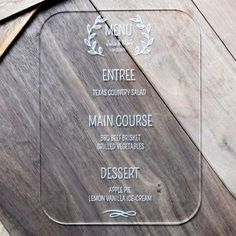 Laser Engraved Clear Acrylic Wedding Menu. Custom Laser Engraving. Size of the Menu -6″x 8″. The price includes 10 menus.