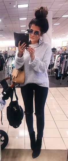 #winter #outfits gray sweater