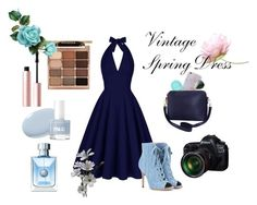 """Blue Beauty"" by jessieg12377 ❤ liked on Polyvore featuring Gianvito Rossi, Too Faced Cosmetics, Fraiche, Stila, Eos and Humble Chic"