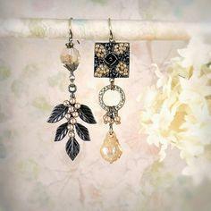 The Beaded Garden - Asymmetrical Mismatch Earrings, Mosaic Earrings, Champagne Earrings, Unique Dangle Earrings, Leaf Earrings, Autumn Bride...