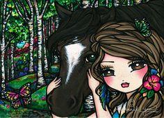 """Cherish"" Girl with her horse Original acrylic painting on wood, copyright Hannah Lynn 2012 www.HannahLynnArt.com"