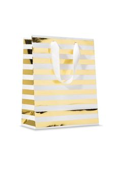 Gold & White Striped Gift Bag