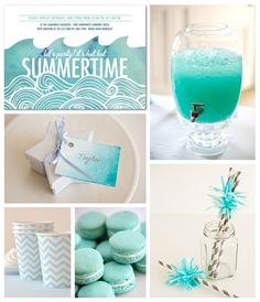 Lazy summer days call for lounging by the pool and sipping ice cold lemonade. Make a splash at your next pool party with simple DIY touches and color coordinated accents.