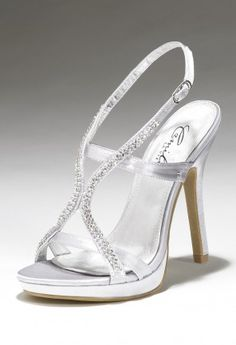 Camille La vie platform rhinestone sandals shoes in silver or black satin - prom or wedding perfection