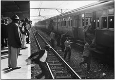 """""""Finding the unmarked trains designated for blacks involved guesswork. Pas- sengers had to jump across tracks, and some were killed by express trains."""" - Photograph by Ernest Cole Johannesburg Art Gallery, David Goldblatt, The Jackson Five, American Photo, Black Families, My Black Is Beautiful, African American History, Film Stills, Black History"""