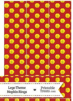 Red Lego Theme Napkin Rings--- https://www.pinterest.com/printabletreats/lego-theme-printables/