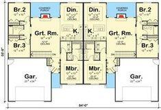 Plan 62610DJ: Modest Ranch Duplex House Plan