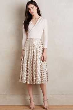 Anthropologie By Eva Franco Gold Shimmer Spot Skirt Size 2 #Anthropologie #ALine