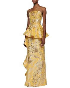 Strapless Side-Flounce Brocade Gown by Christian Siriano at Neiman Marcus.