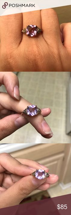 Amethyst/marcasite 18k rg plated ring 💍 Cushion cut light purple amethyst with checkerboard faceting and marcasite stones.. 18k Rose gold plating over sterling silver… Very pretty and sparkly but it is too big for me.. thank you for looking! Jewelry Rings