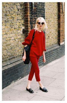 Red + black accessories.