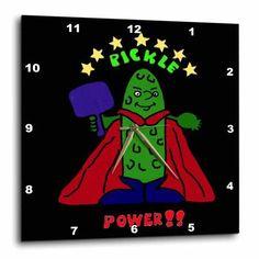 3dRose Funny Pickleball Super Hero Cartoon Pickle, Wall Clock, 15 by 15-inch