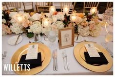 Table numbers; chargers with thank you notes; different style napkin folding says the missus