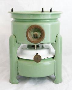 Dutch Enamelware Stove - Kerosene fuel burner single wick - rare light Green