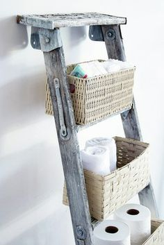I have some old ladders with lots of character from my 33 years of hanging Wallpaper. What a great idea!