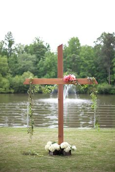 Crush Event Rentals - Our amazing Cross standing almost 9 feet high makes a beautiful statement at your altar.