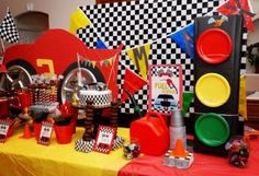 A Disney Cars birthday party provides the perfect opportunity for bold colors.  See more birthday parties for kids at www.one-stop-party-ideas.com